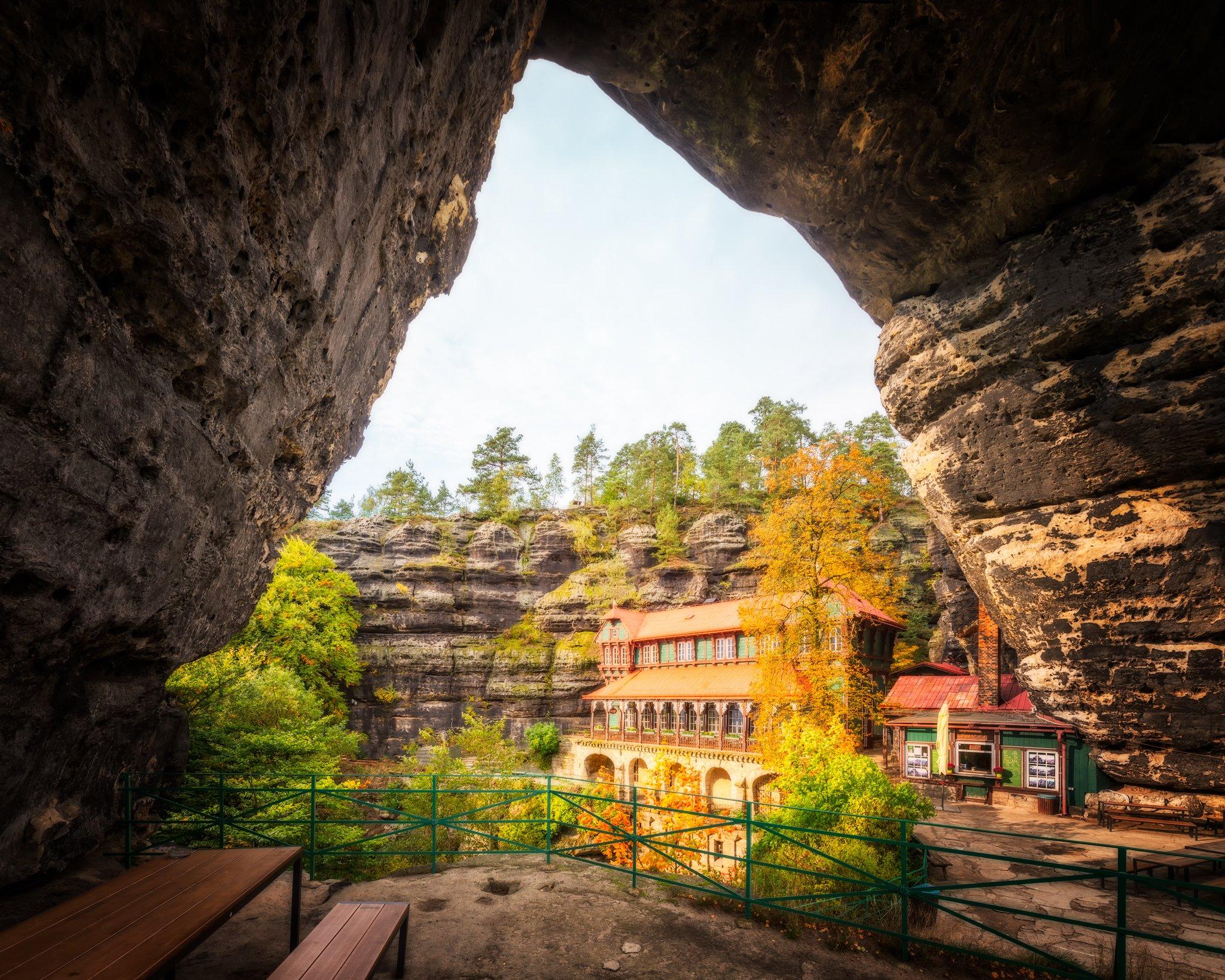 Pravčická Sandstone Gate and The Falcon's Nest in Bohemia; Czech Republic