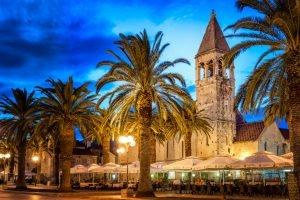 Trogir coast with promenade; Croatia in summer